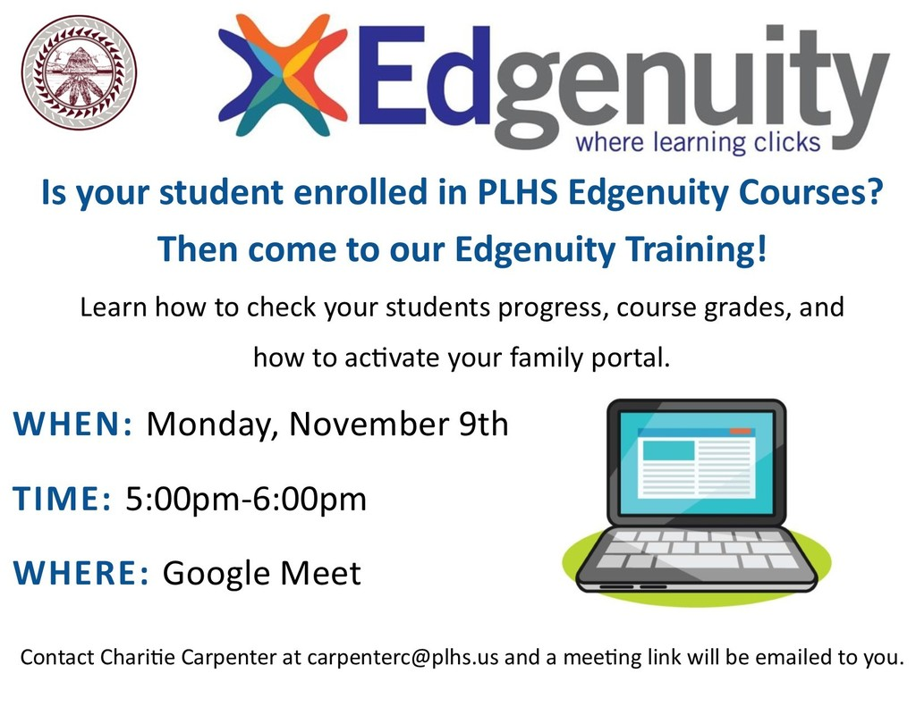 Edgenuity Family Training - Monday, November 9th