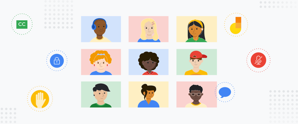 Cartoon drawing of a Google Meet. nine squares against a white background. Each square has a cartoon person in it.